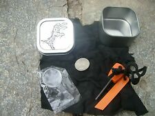 FIRE STARTING KIT  SURVIVAL ZOMBIE CHARCLOTH BUG OUT  CHAR CLOTH + SIGNAL MIRROR