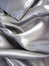 New Soft Silk~Y Satin Lingerie Bed Sheets Set Queen Size SILVER GRAY GOOD DEAL !