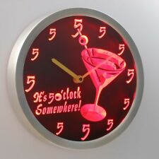 nc0459-b It's 5 O'clock pm Somewhere Cocktails Bar Beer gift Neon LED Wall Clock