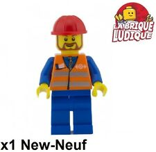 Lego - Figurine Minifig mécanicien mechanic train railroad work trn230 3677 NEW