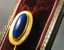 14 ct gold stickpin set with lapis lazuri cabuchon stone in original case .