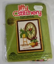 "Vintage Needle Point Craft Pack Jiffy Stitchery ""Poppy Window"" NIB"