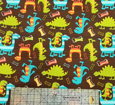 Michael Miller Dino-Dudes Dinosaurs Brown Fabric
