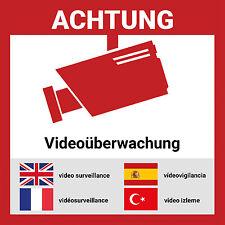 Aufkleber Videoüberwacht mehrsprachig | 15*15cm | Hochwertig mit UV-Schutz, 5 Sp
