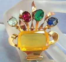 CORO GORGEOUS GOLD PLATED CITRINE CRYSTAL FLOWER BOUQUET BROOCH  BLUE RED GREEN