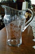 Vtg 1913 - 1938 Tiffin Etched Crystal Pitcher TIFFAN FRANCISCAN ADAM-Clear 58 oz