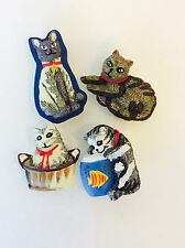 Vintage Cat Kitten Button Covers, Set of 4 Kitten Button Covers, Snap-on