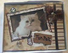 Keypoint Designs Cat Fur-Ball Photo Frame Brown Beige Tones Bell New