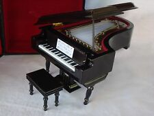 """GRAND PIANO Music Box 7""""x5""""  Plays MOON RIVER Black Case Great MUSIC Gift NEW"""