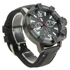 V6 Vogue Black Case Band Sport Casual Cuff Men Analog Wrist Watch Rubber Fashion