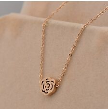"""7mm Gold Plated Titanium Brushed Rose Flower Pendant Necklace Chain 16""""-18"""""""
