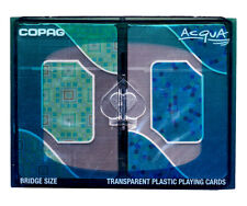"COPAG ""ACQUA"" TRANSPARENT POKER PLAYING CARDS 2 BRIDGE SIZE DECKS JUMBO INDEX *"
