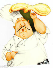 "5"" FAT CHEF PIZZA  KITCHEN PREPASTED WALLPAPER BORDER CUT OUT"