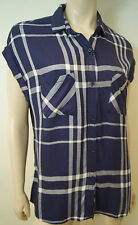 RAILS Blue & Cream Check Cap Sleeve Collared Casual Summer Blouse Shirt Top Sz:M