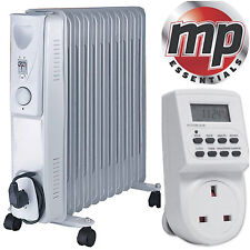 Daewoo 2500W Oil Filled Radiator Heater with Thermostat & Digital Timer - White