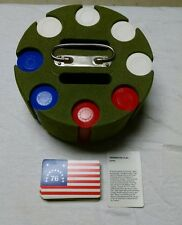 Vtg Green Flocked Poker Chip Revolving Caddy Holder Chips 1976 Flag Cards