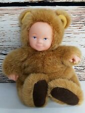 """Anne Geddes blue eyed baby bear costume doll bean filled collection Tan Brown 7"""""""