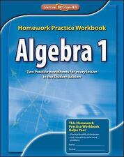 Algebra 1 Homework Practice Workbook, CCSS, McGraw-Hill, Glencoe, Very Good Book