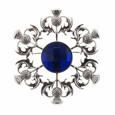 Great Gift: Elegant Scottish Kilt Fly Plaid Brooch Thistle - Blue Stone