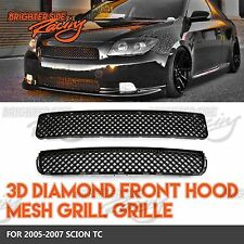 FOR 04-07 SCION TC JDM 3D DIAMOND MESH GRILLES 2PC HOOD+BUMPER ABS BLACK PLASTIC
