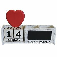 Shabby Chic Red Heart White Wooden Calendar Pen Pot Pen Holder Desk Tidy