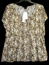 NWT Calvin Klein Jeans Woman 2X Babydoll Top Empire Camouflage Shirt Tee NEW