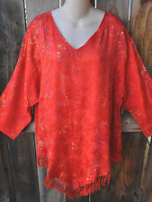 """ART TO WEAR MISSION CANYON FRINGED HEM RUBY TOP IN ALL NEW SCARLET, OS+,52""""B"""