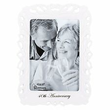 40th Anniversary Porcelain Photo Frame Holds 4x6 Inch Photo
