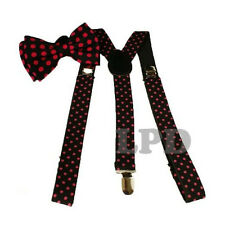 Red Polka Dots On Black Adjustable Bow tie And Suspenders Set- New Tuxedo Formal
