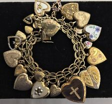 Victorian Vintage Puffy Heart (22) Charm Bracelet Sterling Gold Filled Enamel
