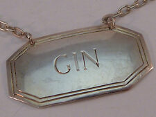 Vintage Sterling Silver Gin Tag Label Liquor Bottle Decanter Richards & Knight