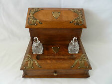 Antique Oak and Brass Desktop Stationary Box Cabinet with Ink Bottles