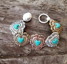 COWGIRL BLING HEART CONCHO tri TONE METAL  FAUX TURQUOISE SOUTHWESTERN BRACELET
