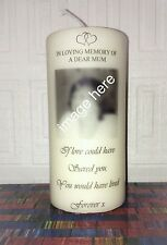 Handmade Personalised Memorial Photo & Quote Remembrance  Candle / gift