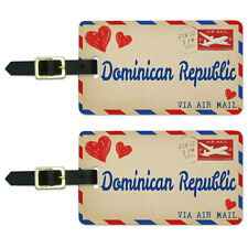 Air Mail Postcard Love for Dominican Republic Luggage Suitcase ID Tags Set of 2