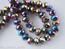 72pcs Wholesale 6mm Faceted Rondelle Spacer Crystal Glass Beads Colorized Plated