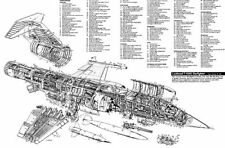 F104 Military Aircraft Cutaway Aviation Poster 24inx36in