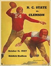 North Carolina State Wolfpack Clemson 47 College Football Program Poster Vintage