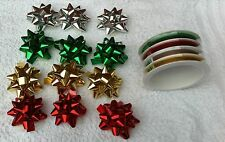 Christmas Gift Wrap Bows & Ribbons Set Various Colours Xmas Present Wrapping Kit