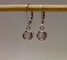 Sterling Silver Bezel Set Round Rose Quartz Dangle Lever Back Earrings 1.40TCW