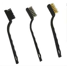 3pcs Handy Brush Stainless Steel Nylon Brass Wire Brushes Cleaning Rust Kit
