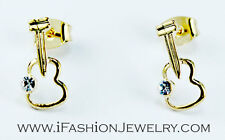 Gold Tone Guitar Violin Stud Earrings Unisex Fashion Jewelry Gift Music Lover