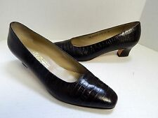 Salvatore Ferragamo Italy Brown Croc Leather Pumps 11 B
