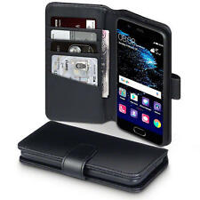 Luxury Real Leather Wallet Stand Case for Huawei P10 - Black