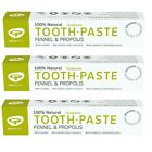 GREEN PEOPLE FENNEL & PROPOLIS TOOTHPASTE 3x50ml - ORGANIC, FLUORIDE FREE