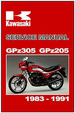 KAWASAKI Workshop Manual GPz305 EX305 1983 1984 1985 1986 1987 1988 1989 to 1991