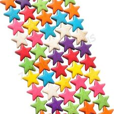 40 Pcs Multi-colored Turquoise Howlite Star Charms Loose Spacer Beads 11 mm
