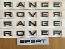 BLACK CHROME EDGE RANGE ROVER LETTERING SPORT BADGE SET FOR BONNET TAILGATE