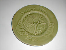 """French Majolica Choisy Le Roi Boulenger Green Strawberry 7-3/4"""" Plate (loc-23A)"""