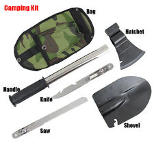 4 In1 Multi-function Camping Hiking Emergency Gear Shovel Axe Knife Saw Gut Tool